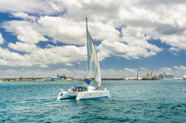 Catamaran Sailing off the Coast of Barbados