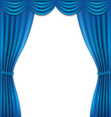 Luxury blue curtain on white background