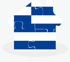 house home icon with Greece flag in puzzle