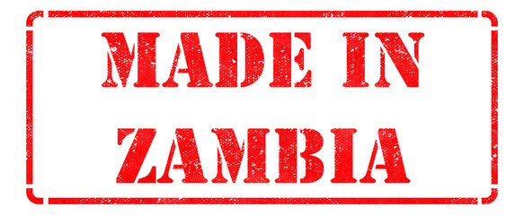Made in Zambia - inscription on Red Rubber Stamp.