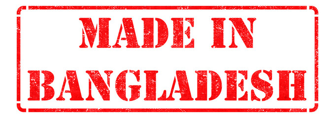 Made in Bangladesh- inscription on Red Rubber Stamp.