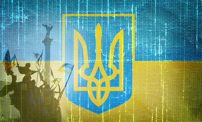 Grunge Ukrainian flag with trident and  Independence monument