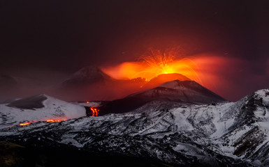 Photo sur Plexiglas Volcan Eruption volcano Etna lava flow