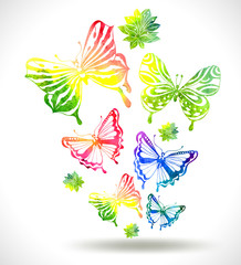 Colorful background with watercolor butterflies and flowers