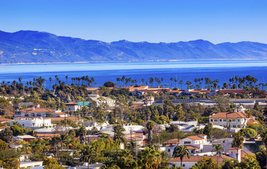 Buildings Coastline Pacific Ocean Santa Barbara California Wall mural