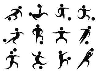 abstract soccer players icons
