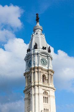 Philadelphia city hall tower over a cloudy sky -  Pennsylvania -