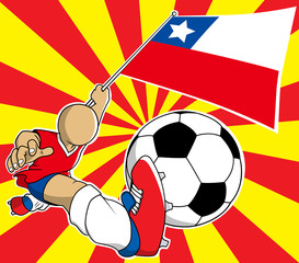 Chile  soccer player vector cartoon