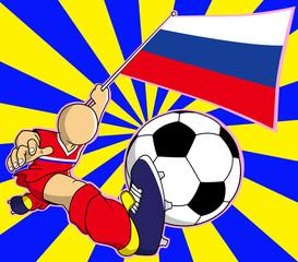 Russia soccer player vector cartoon