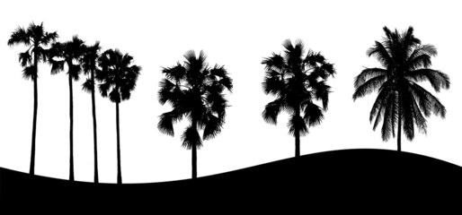 Set of tree silhouette on white background