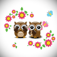 Greeting card with two lovely owls
