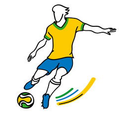 brazilian soccer player runs forward with the ball