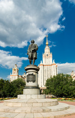 Lomonosov monument and main building of Moscow state University