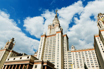 Towers of Moscow State University in summer day