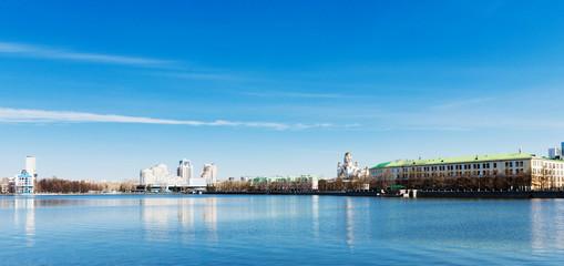 View of quay wharf embankment Yekaterinburg City.