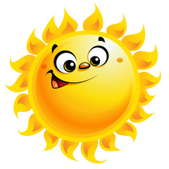 Happy cartoon yellow sun character smiling