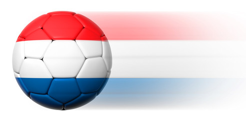Soccer ball with Dutch flag in motion isolated