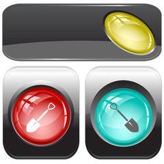 Spade. Vector internet buttons.