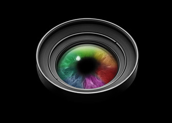 Black camera lens with multicolored eye