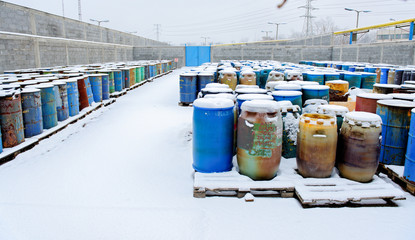 Chemical waste dump with a lot of barrels