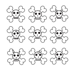 Vector Set of Cartoon Skull with bone