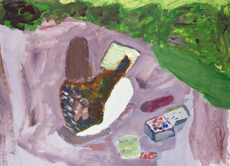 Artist  draws landscape