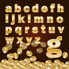 Golden alphabet_lowercase and coin