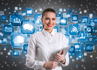 Smiling businesswoman over technology background