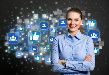 Success business woman with social icon in background