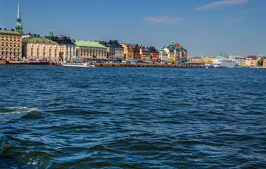 View of houses and the harbor of Stockholm from the sea