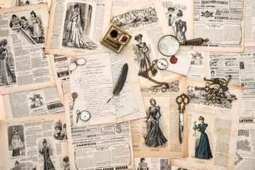 antique office accessories, writing tools, vintage fashion magaz