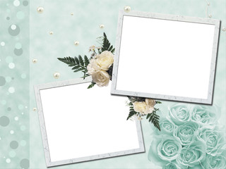 Wedding frame for 2 photos with white roses