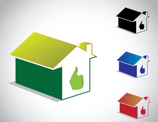 colorful perfect green home house icon & thumbs up symbol set