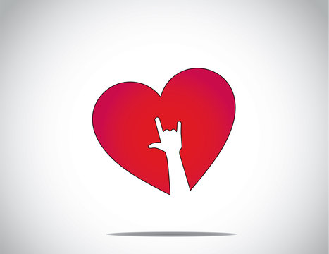 red love or heart shape icon with an i love you hand symbol art