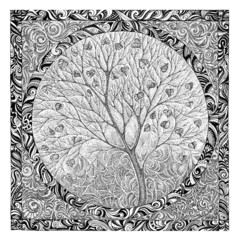 Hand drawing, graphic picture on the theme tree flowering.