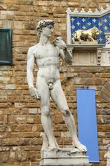 Statue of Michelangelo's David near the museum Palazzo Vecchio