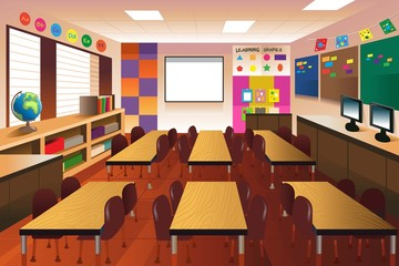 Empty classroom for elementary school