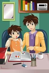 Father teaching son