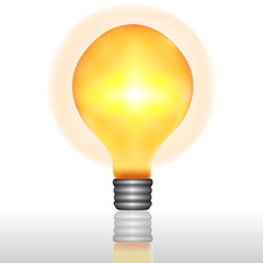 vintage lightbulb with orange light halo