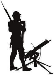 First World War soldier with mashine gun vector silhouette.