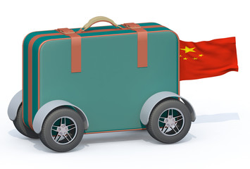 luggage with tires and china flag