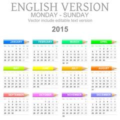 2015 Crayons Calendar English Version