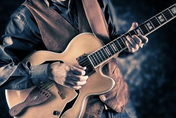 Wall Mural - guitar player vintage image