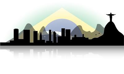 skyline di rio con bandiera del brasile di sfondo