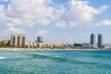 Surfers in Barcelona