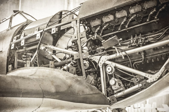 WW2 fighter plane with sepia tone and grain added