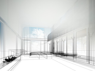 sketch design of interior hall, wire frame