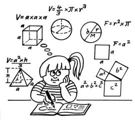 Schülerin mit Matheaufgaben