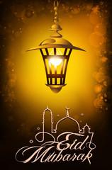 illustration of illuminated lamp on Eid Mubarak background