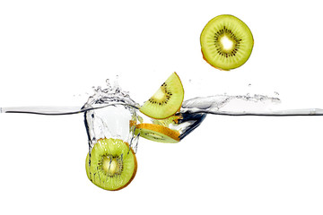 Fresh Kiwis Splash in Water Isolated on White Background